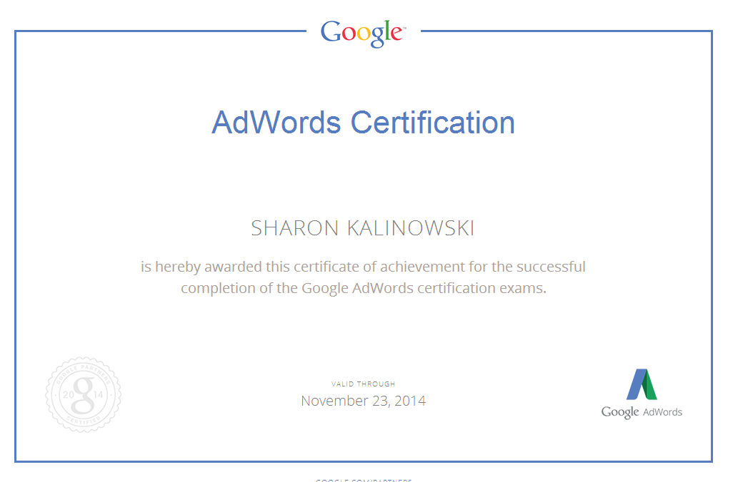 Sharon Kalinowski Google Ad Words Certification